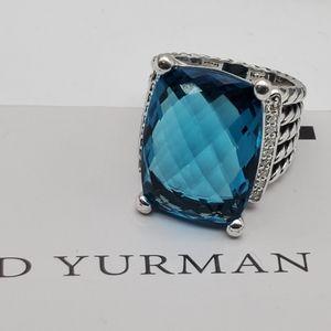 David Yurman Wheaton blue Topaz &dmds ring sz 6